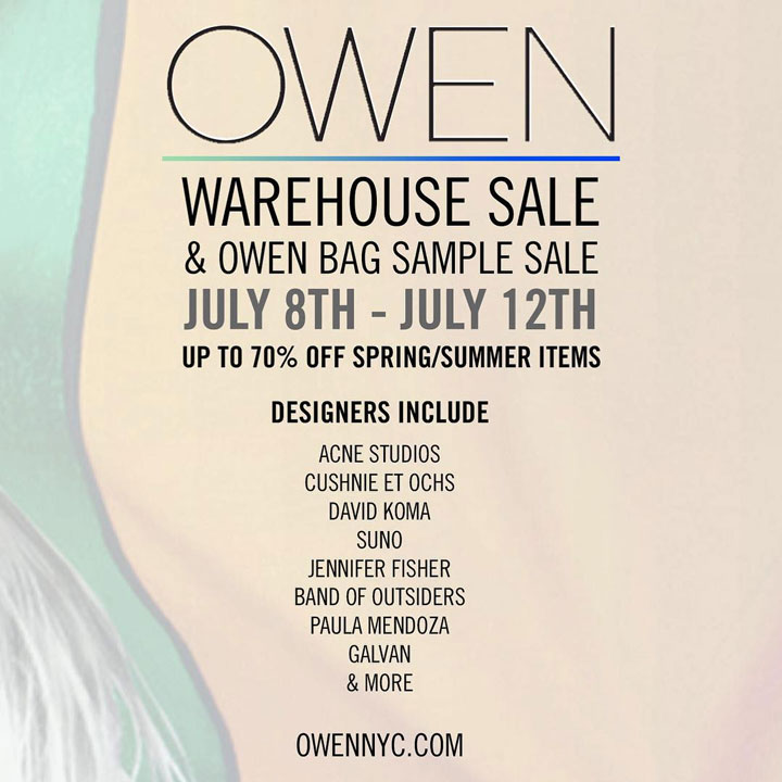 OWEN Warehouse Sale and Owen Bags Sample Sale