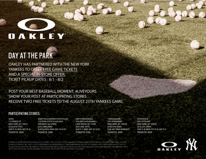 Local Oakley Stores to Give Away Free Tickets to YANKEES Game