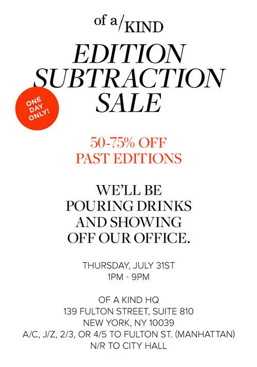 Of a Kind Editon Subtraction Sale