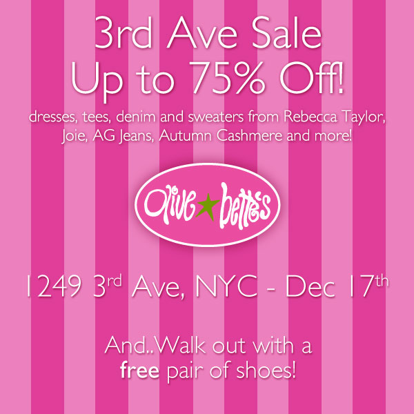 Olive and Bette's Holiday Sample Sale
