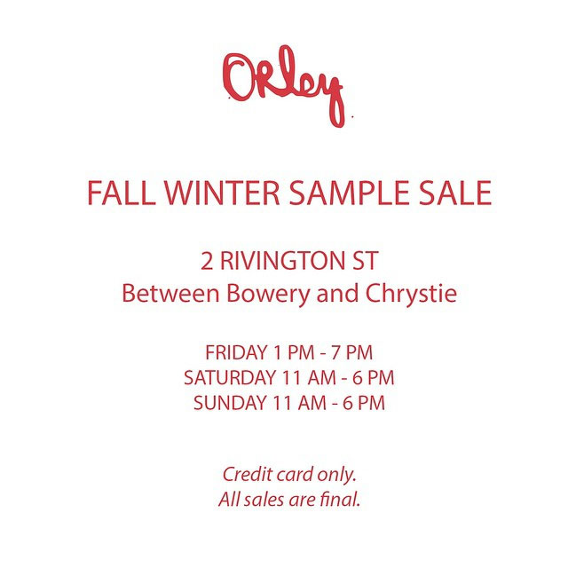 Orley Fall/Winter Sample Sale
