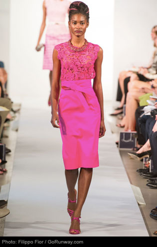All-pink Neon ensemble crafted by Oscar de la Renta