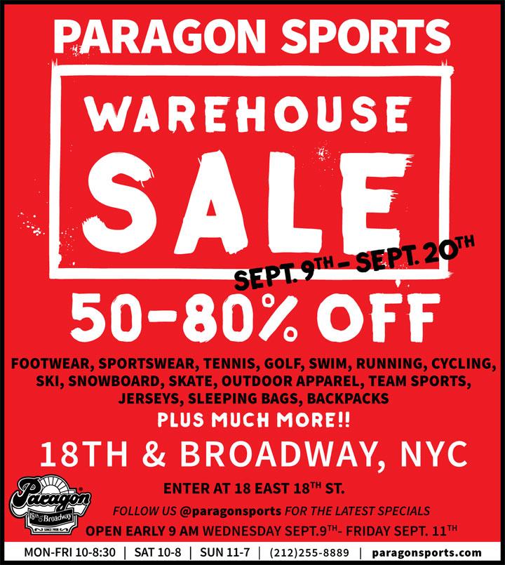 Paragon Sports Warehouse Sale