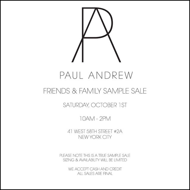 Paul Andrew Friends & Family Sample Sale