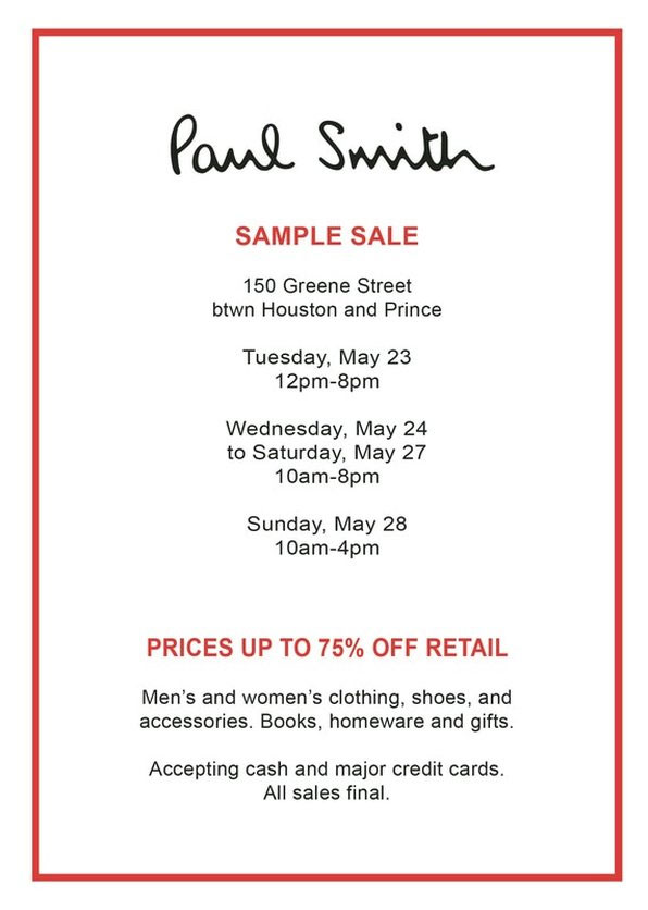 Paul Smith Sample Sale