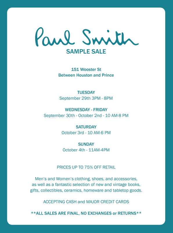 Fashionably petite: paul smith sample sale | 5/15 5/20/18.