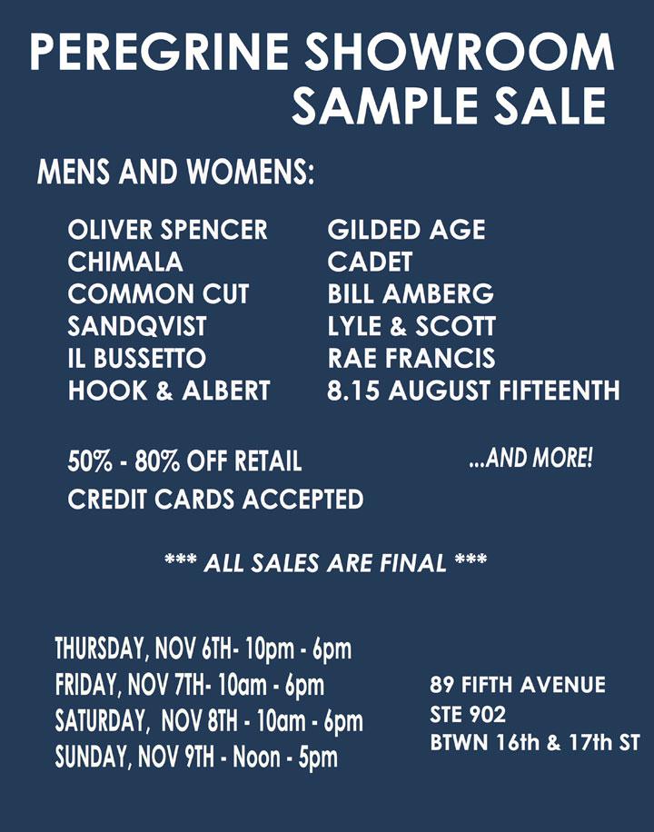 Peregrine Showroom Fall/Winter 2014 Sample Sale