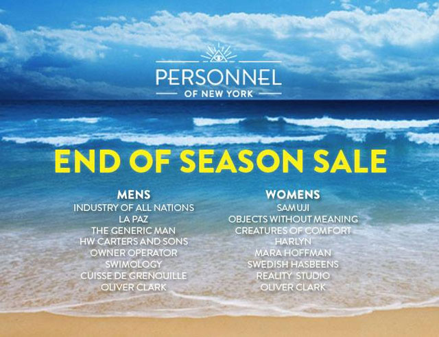 Personnel of New York End-of-Season Sale