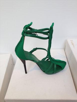 Absinthe Green Braided T-Strap Evening Heel ($100, various sizes)
