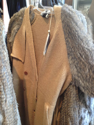 Unbelievably soft camel fur button up cardigan was available in all sizes ($150, various sizes)