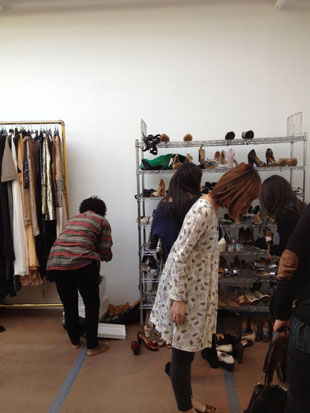 Most shoppers crowded around the racks that held a dismal collection of heels,