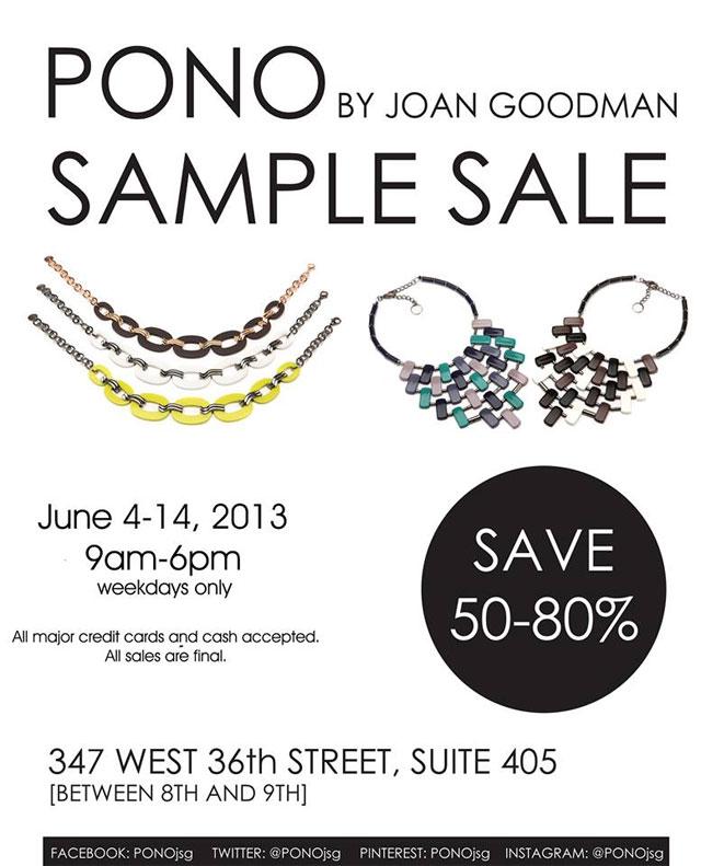 PONO by Joan Goodman Sample Sale