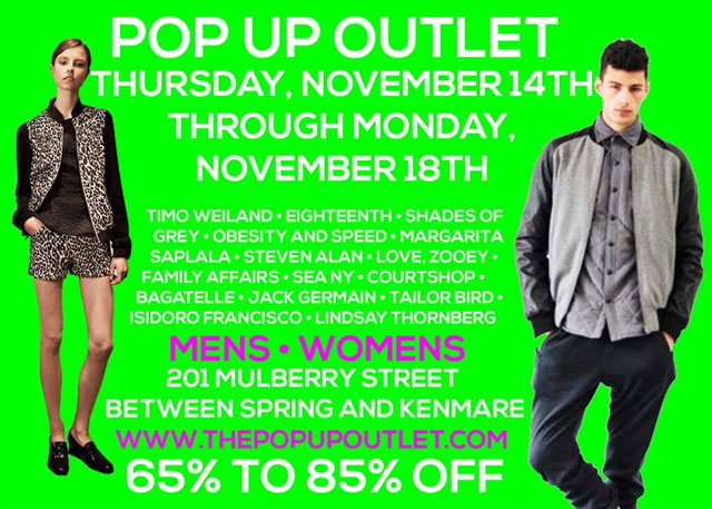 Pop-up Outlet Sample Sale