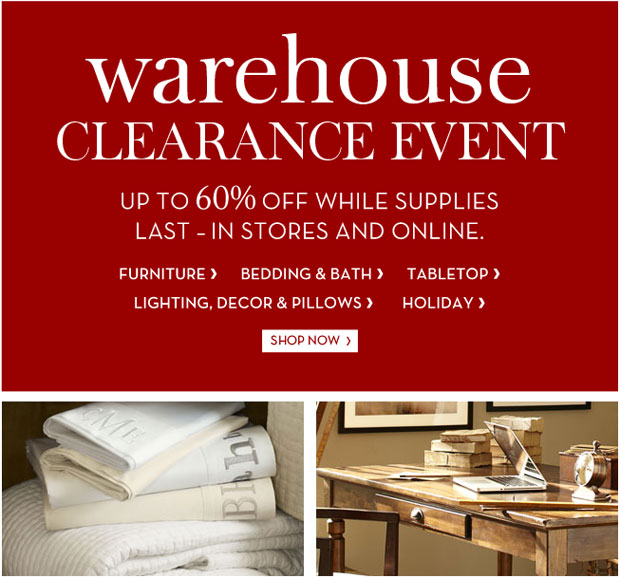 Pottery barn furniture home accessories new york for Furniture warehouse sale