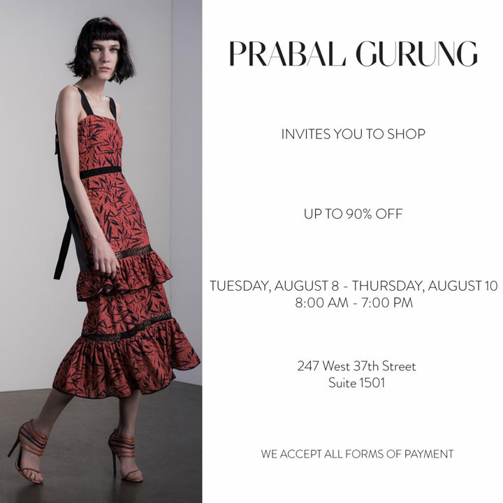 Prabal Gurung Sample Sale