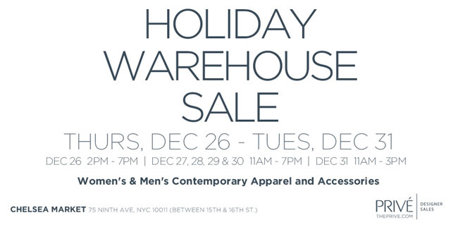 Prive Holiday Warehouse Sale