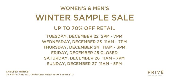 Prive Winter Sample Sale