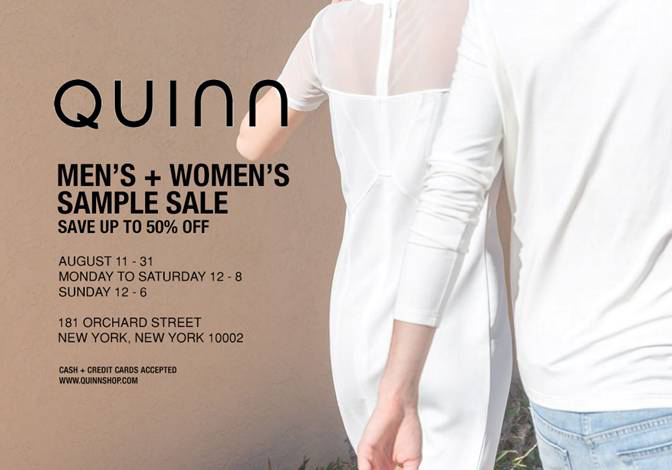 Quinn Men's & Women's Sample Sale