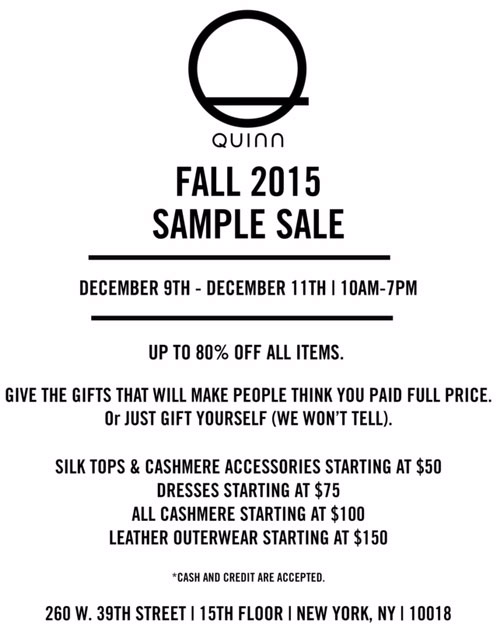 Quinn Fall 2015 Sample Sale