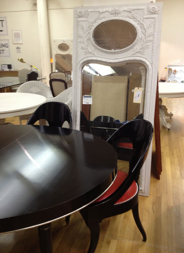 Ralph Lauren Black and Red Modern One Fifth Dining Table ($3,399) & Rosecliff Mirror ($2,494)