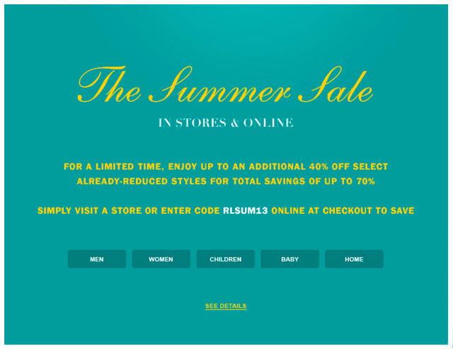 Ralph Lauren Summer Retail Sale