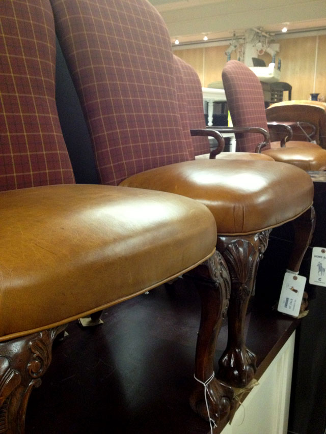 Ralph Lauren Brown leather and plaid wingback chairs ($750 each)