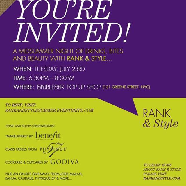 Bauble Bar + Rank & Style Midsummer Night Event