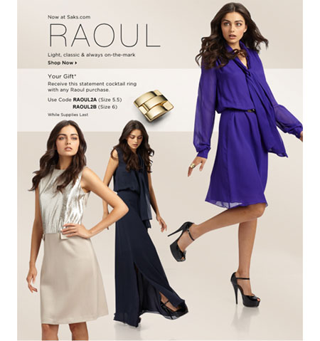 Free Cocktail Ring with any Raoul Purchase at Saks