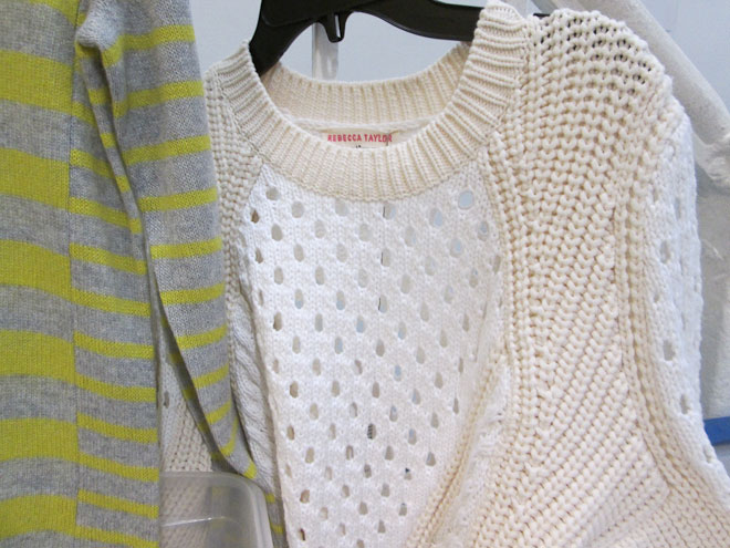 Sweaters with neons, muted basic colors, and plenty of texture for $99