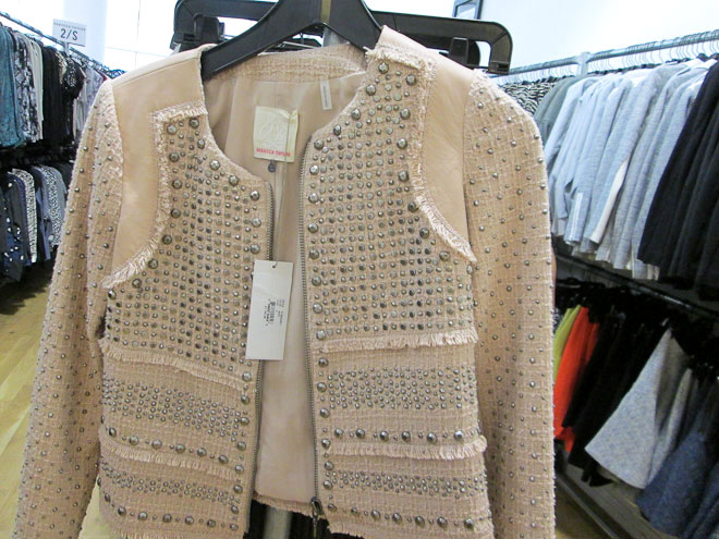 Embellished nude pink leather jacket for $299