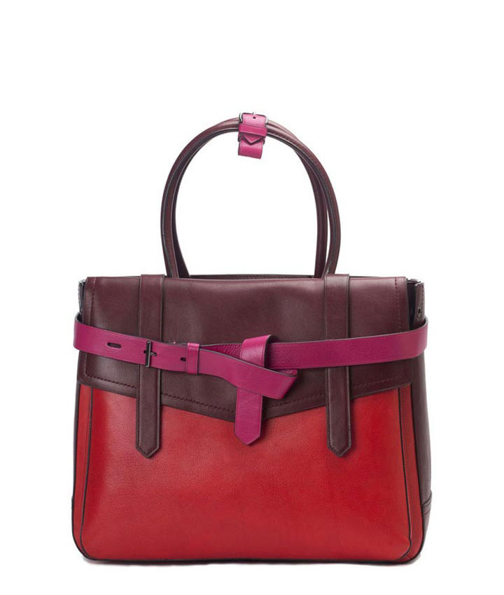 Reed Krakoff Leather Color Block Large Boxer Tote Bag