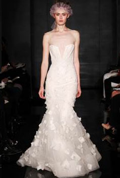 Just Divine – Ivory Tulle Deep V Embroidered Gown with Organza and Beaded Skirt