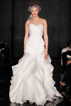Love at First Sight – Ivory Silk Crepe Side Draped Gown with Floral Wrapped Organza Waves