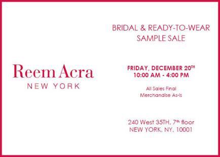 Reem Acra RTW & Bridal Sample Sale