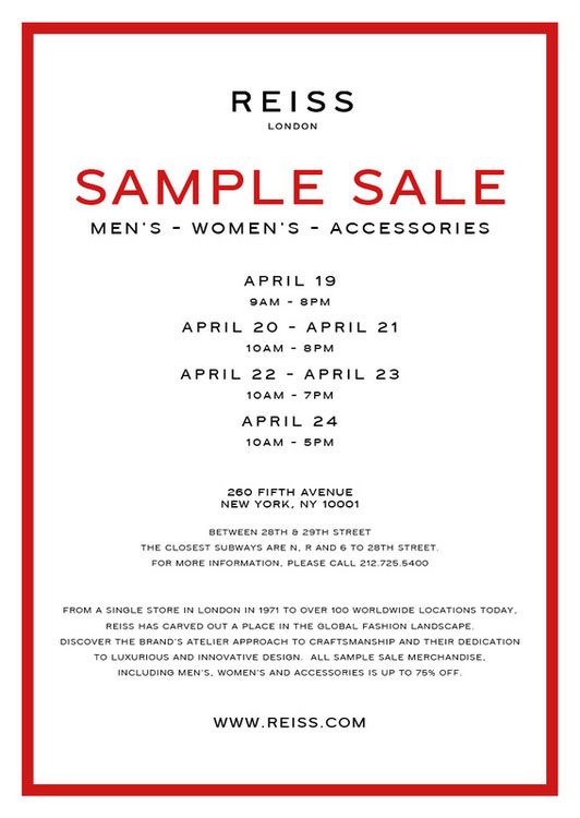 Reiss Clothing & Accessories New York Sample Sale - TheStylishCity.com