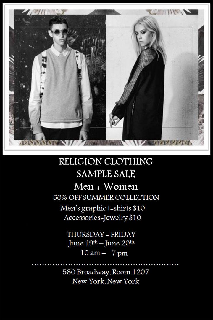 Religion Clothing Sample Sale