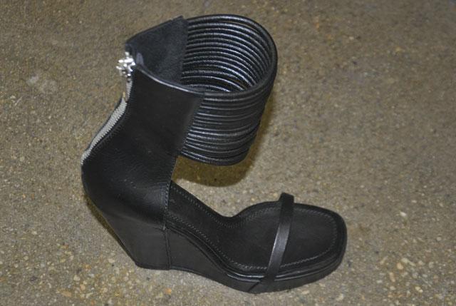 Rick Owens Ankle Wrap Platforms in Bronze and Black ($709, orig. $1,770)