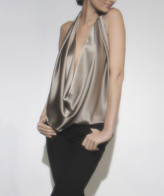Rubin & Chapelle Stylish Silk Drape tops in creme/navy/black/lavender: $165 (orig. $490)