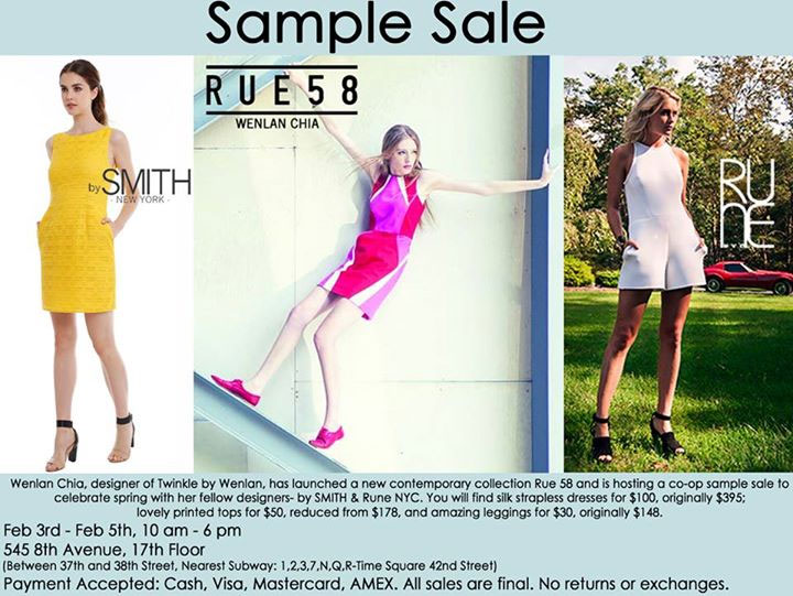 Rue 58, By Smith, & Rune NYC Sample Sale