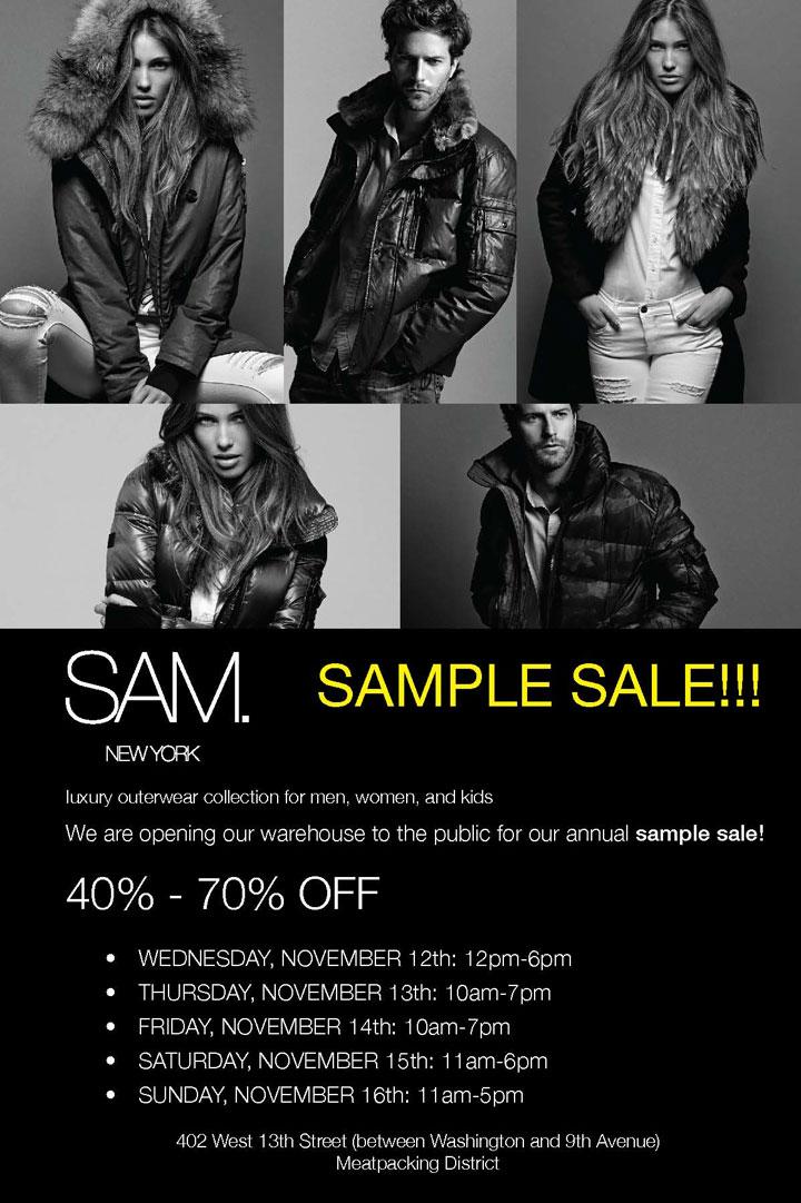 SAM. Annual Sample Sale