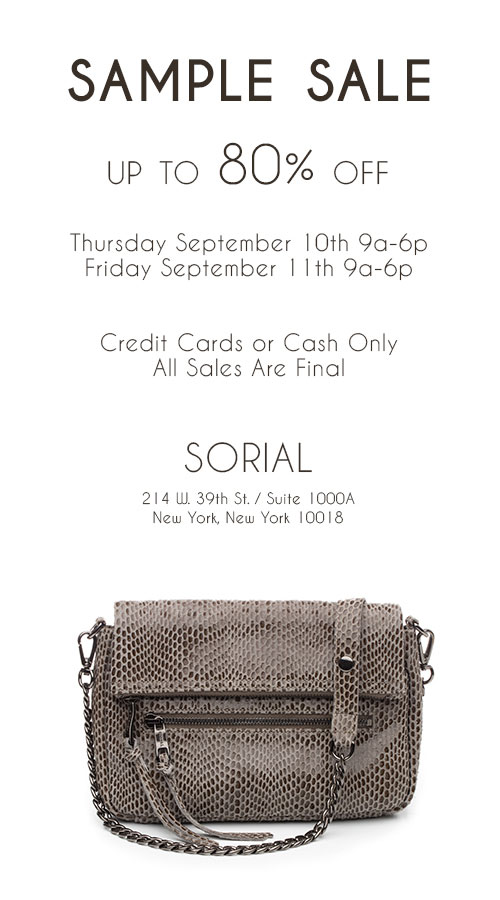 SORIAL Handbags Sample Sale