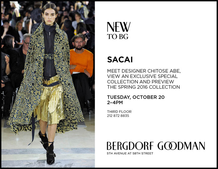 Sacai Trunk Show and Personal Appearance