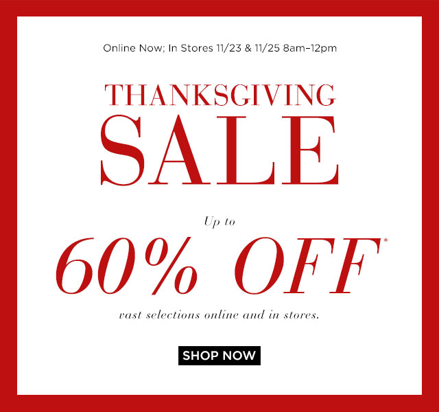 Saks Fifth Avenue Thanksgiving Sale