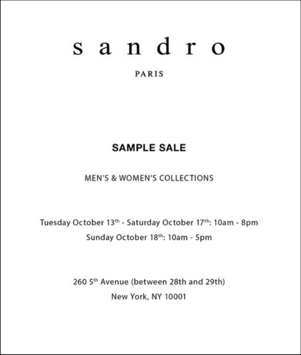 Sandro Fall 2015 Sample Sale