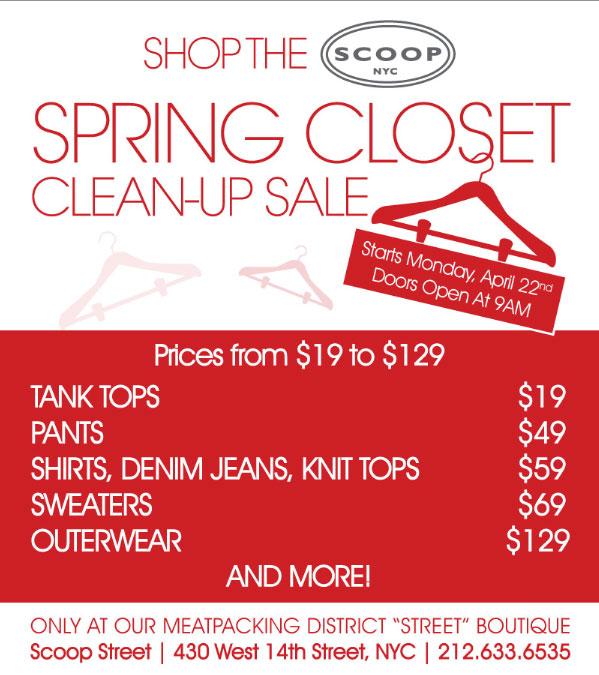 Scoop NYC Spring Closet Clean-Up Sale