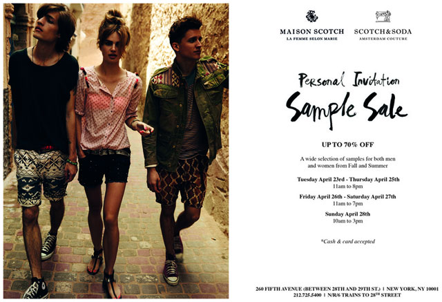 scotch soda and maison scotch clothing sample sale. Black Bedroom Furniture Sets. Home Design Ideas