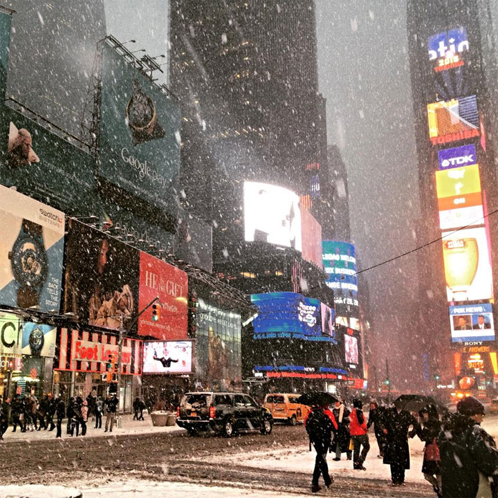Snow at Times Square @EverythingNYC #Blizzardof2015