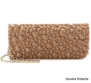 Sondra Roberts Faceted Pearl Beaded Clutch