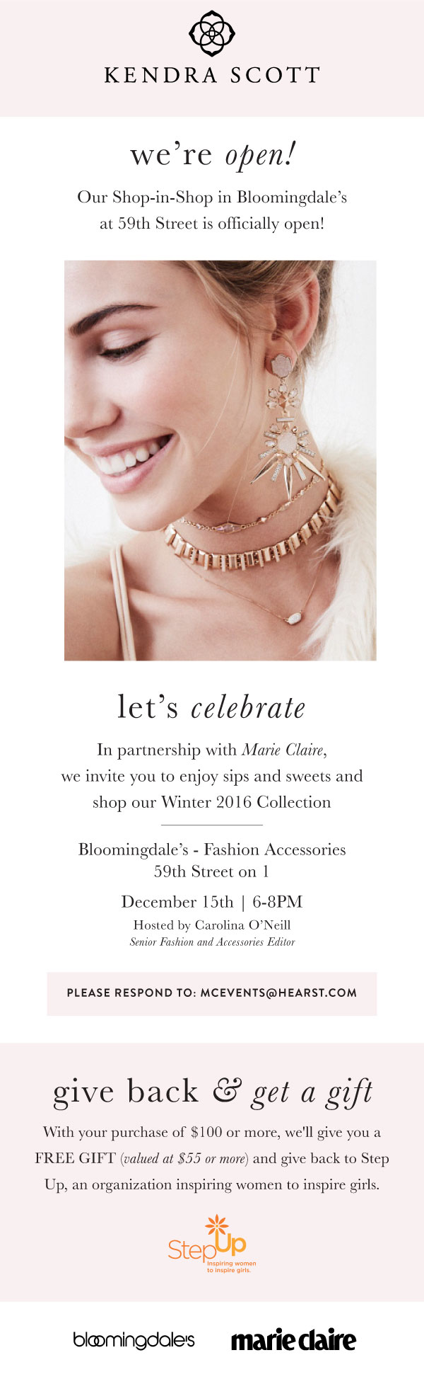 Step Up Salon: an evening with Kendra Scott at Bloomingdale's