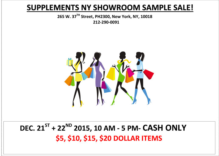 Supplements NY Showroom Sample Sale